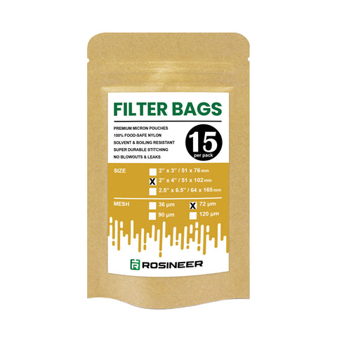 "Rosineer Premium Filter Bags, 2"" x 4"", Various Micron Mesh Sizes Available"