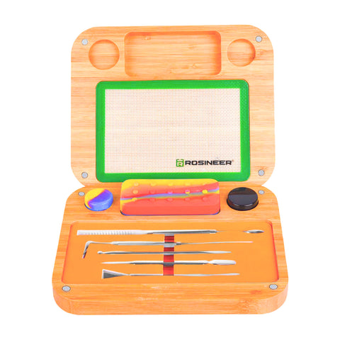 Rosineer Rosin Dab Cannabis Organizer Set with Bamboo Carrying Box