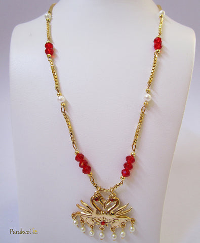 Gold Plated Necklace with Swan Pair Pendant