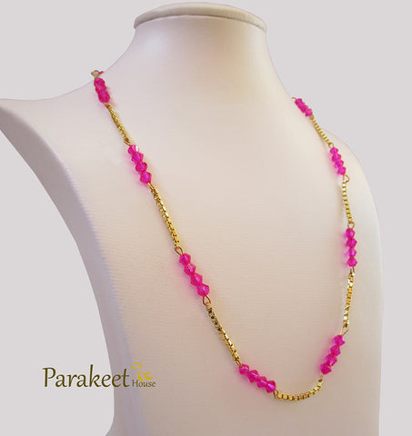 Gold Plated Necklace with Rose Swarovski Crystals