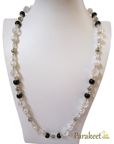 Vintage Style Black & White Long Necklace