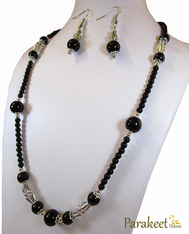 Black Fashion Pearl Necklace with Earring