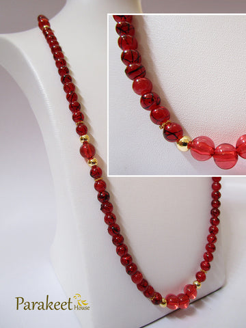 Dark Red Marble Effect Beads Necklace