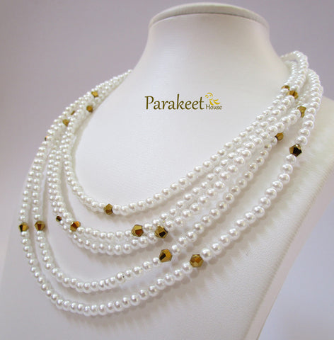 Five Strand Fashion Pearl Necklace with Earring
