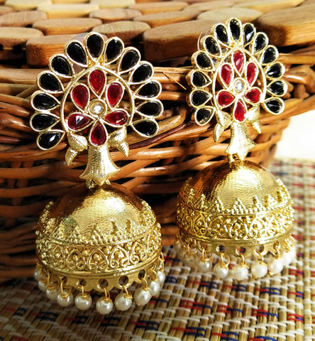Parakeet House Indo Western Jhumka Earrings with Gold Plating