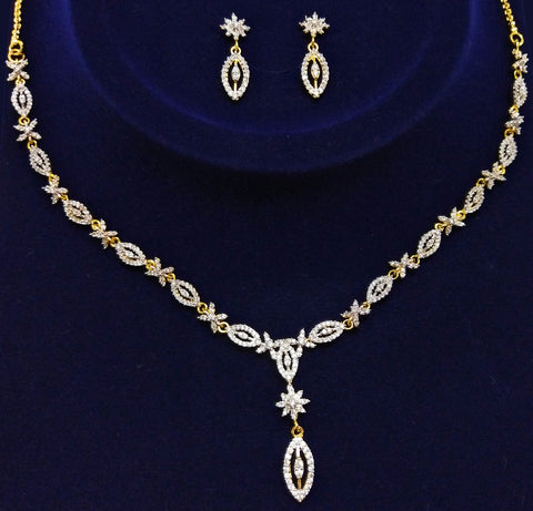 Parakeet House American Diamond (CZ) Delicate Necklace Set with 2 Tone Plating
