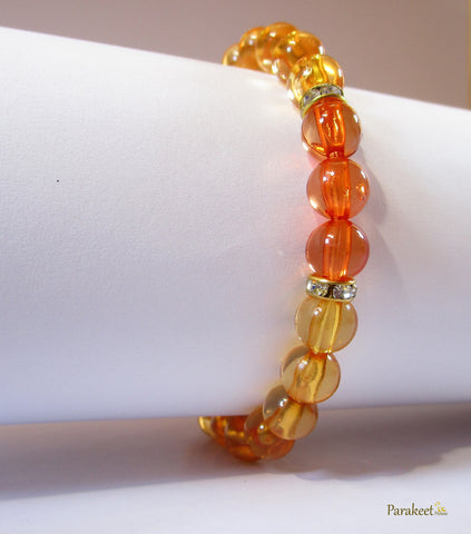 Costome Jewellery: Orange Costume Stretch Bracelet