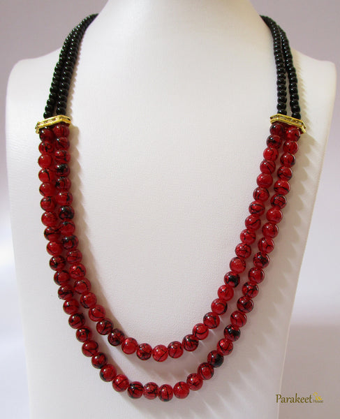 Fashion Jewelry: Double Line Dark Red Marble Effect Beads Necklace