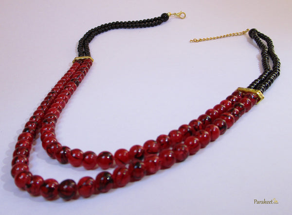 Fashion Jewellery: Double Line Dark Red Marble Effect Beads Necklace
