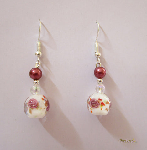 Rose Glass Marble Earring