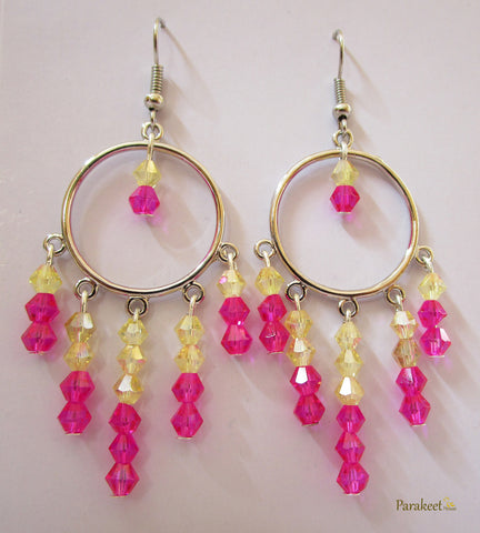 Chandelier Earrings with Rose Swarovski Crystals