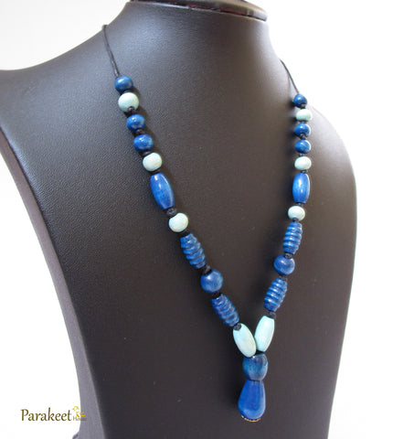 Blue Wooden Necklace with Earring