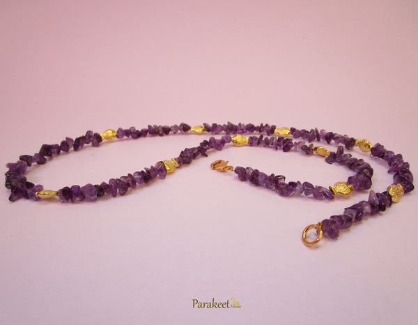 Amethyst Chips Necklace with Tibetan Silver Antique Gold Fish