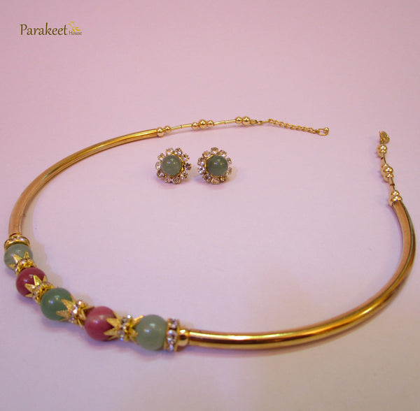 Pink Rhodochrosite and Green Aventurine Gemstones Necklace with Earring