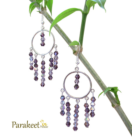 Chandelier Earrings with Violet Swarovski Crystals