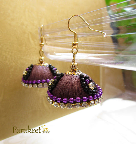 Violet Colour Silk Thread Jhumka Earrings