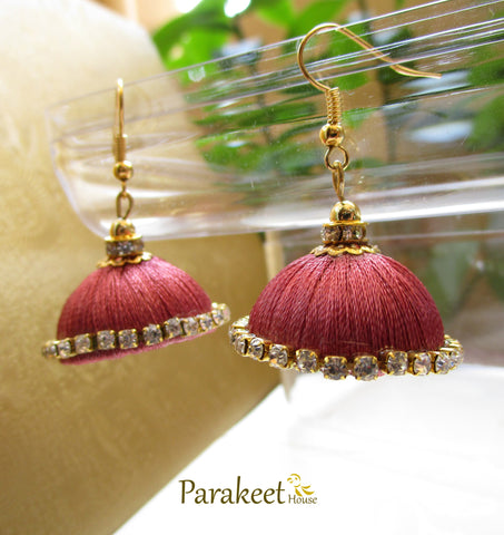 Dark Pink Colour Silk Thread Jhumka Earrings