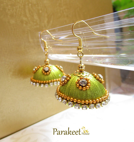 Light Green Colour Silk Thread Jhumka Earrings