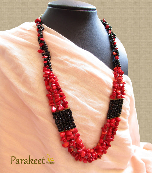 Red Coral Gemstone Necklace