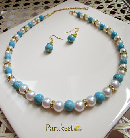Natural Turquoise Semi Precious Gemstone  and Fashion Pearl Necklace Set