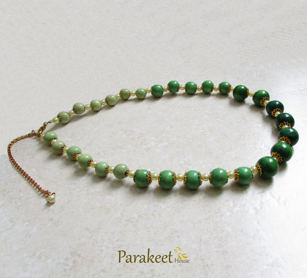 Green Wooden Beads Necklace