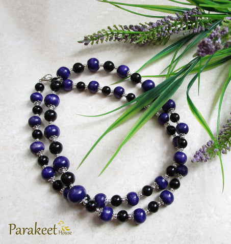 Purple Wooden Beads Mala Necklace