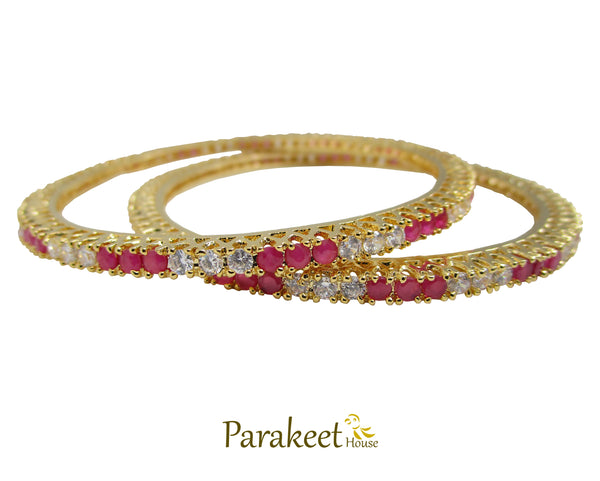 Gold Plated CZ American Diamond & Ruby Red Bangles