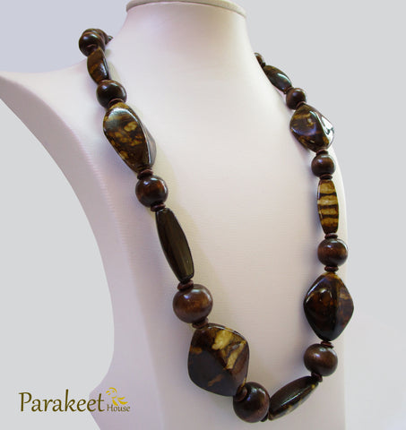 Brown Wooden Beads Necklace