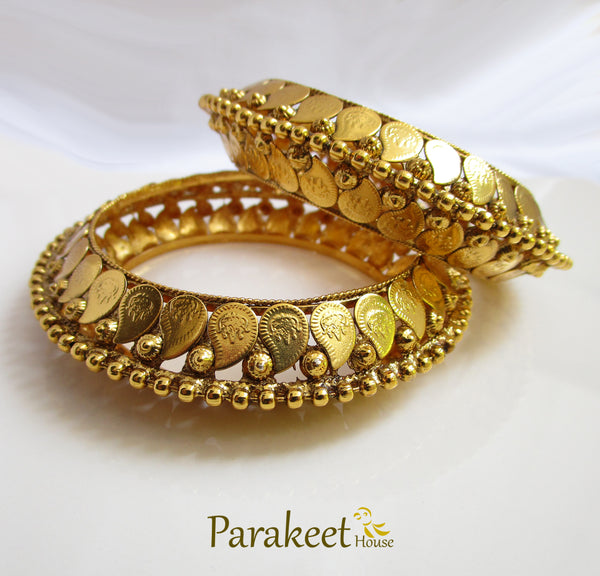 Antique Gold Plated Temple Bangles