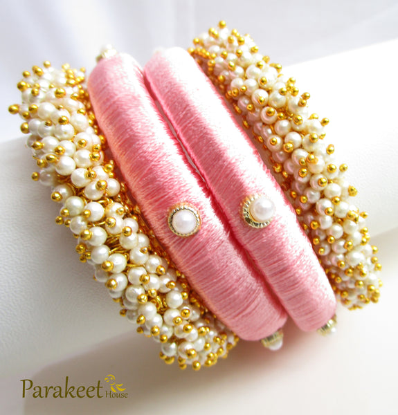 Antique Gold Plated Classic Bangles with Small White Pearls