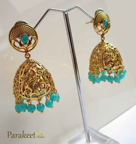Gold Plated Antique Jhumki Earrings with Green Beads