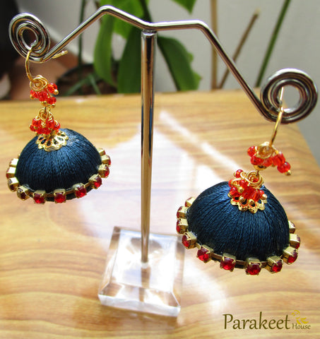 Dark Blue Colour Silk Thread Jhumka Earrings
