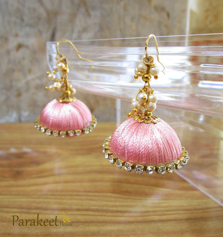Pink Colour Silk Thread Jhumka Earrings