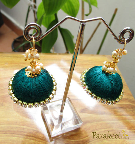 Peacock Green Colour Silk Thread Jhumka Earrings