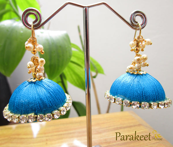 Sky Blue Colour Silk Thread Jhumka Earrings