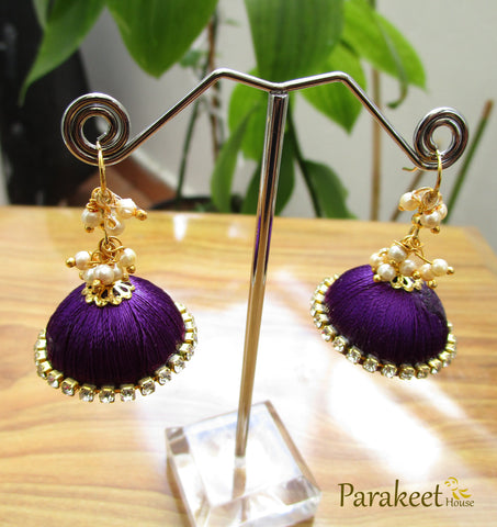 Dark Purple Colour Silk Thread Jhumka Earrings