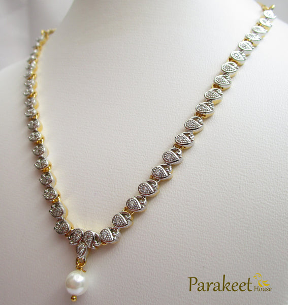 2 Tone Plated American Diamond Necklace Set