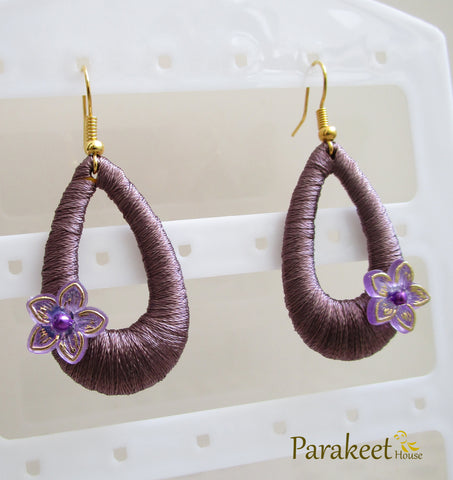 Violet Colour Silk Thread Earrings