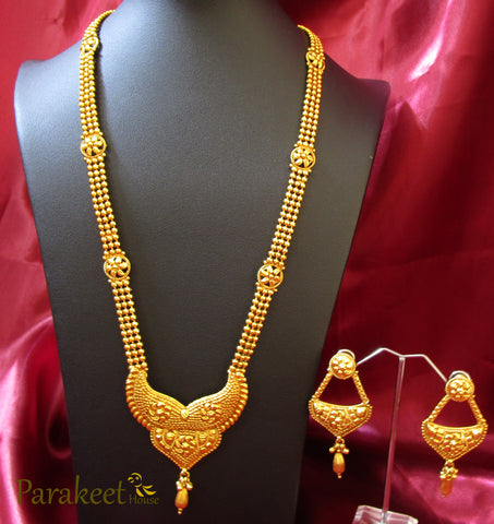 Antique Long Necklace Set with Gold Plating