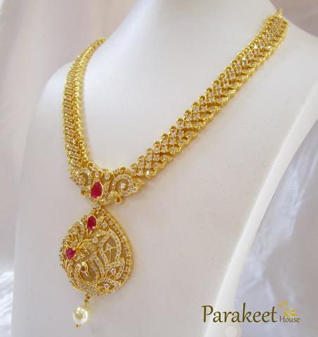 Peacock Necklace Set with Gold Plating and American Diamonds