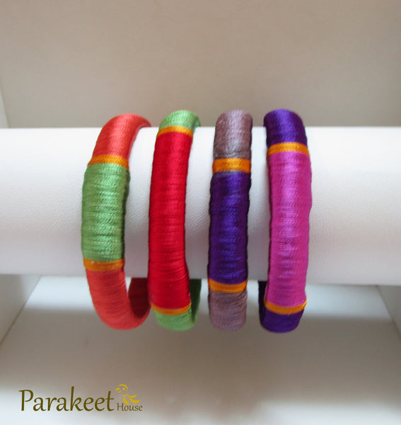 Handmade Silk Thread Bangle Combo in 4 Colors (4pc)