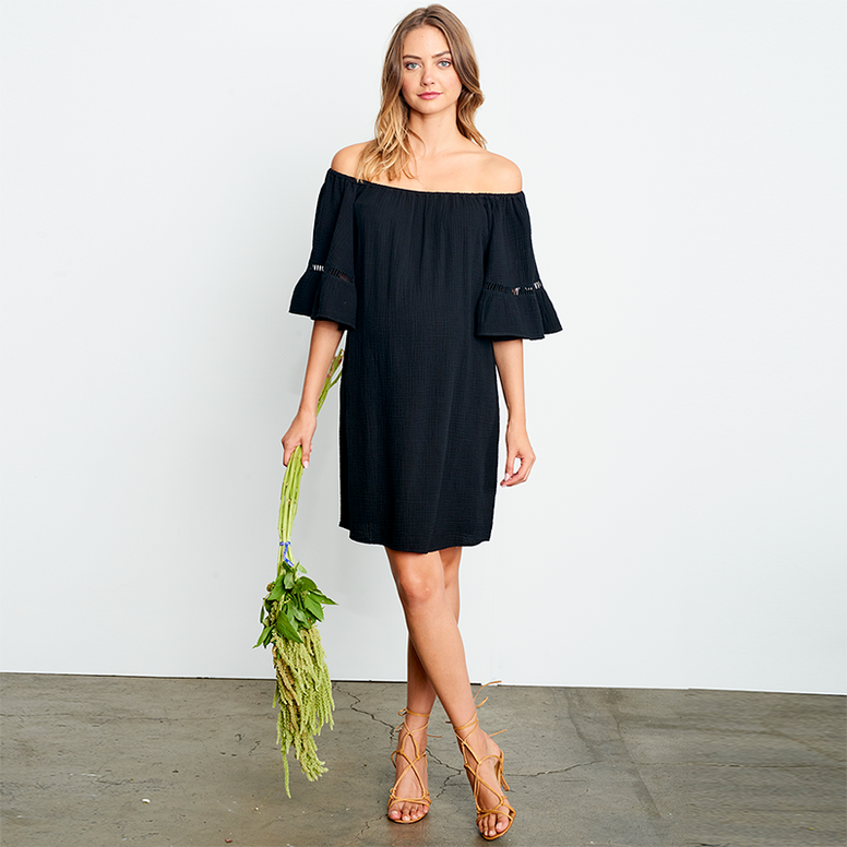 MA Bell Sleeve Dress - Black