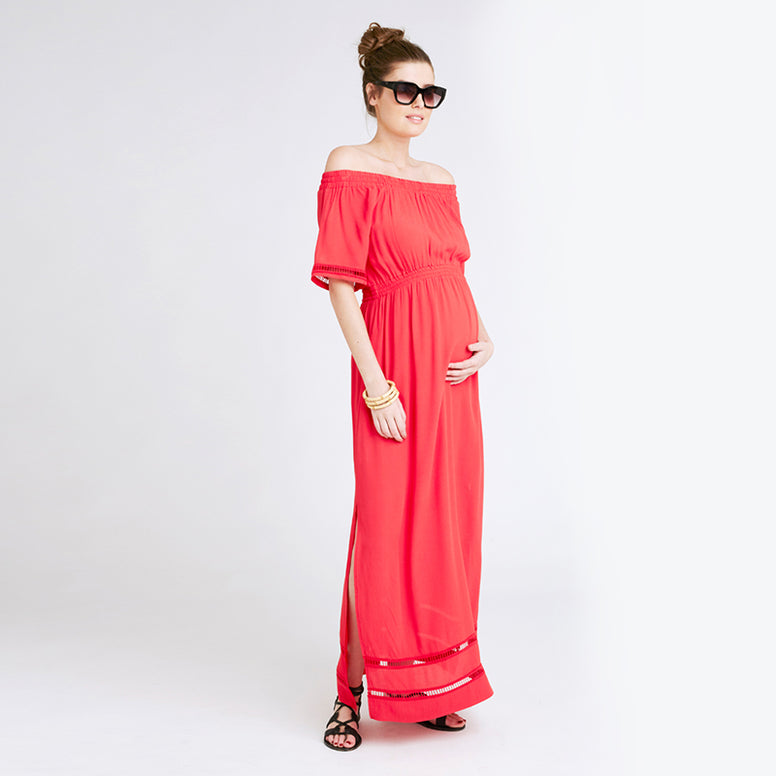 Ripe Cold Shoulder Maxi - Red