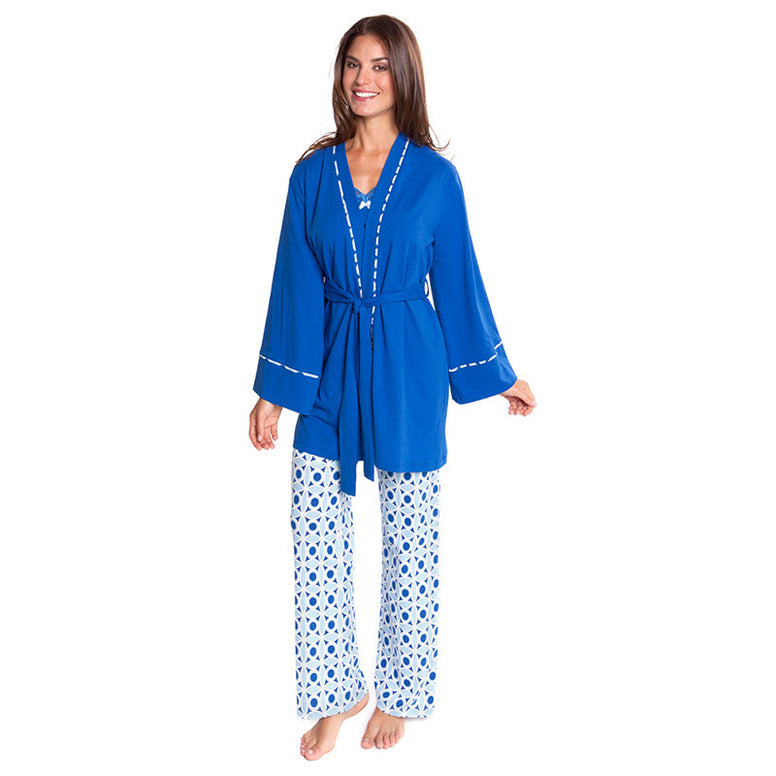 Olian Blue Pattern Pajama Set
