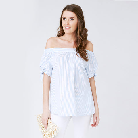 Ripe Seersucker Off-Shoulder Top