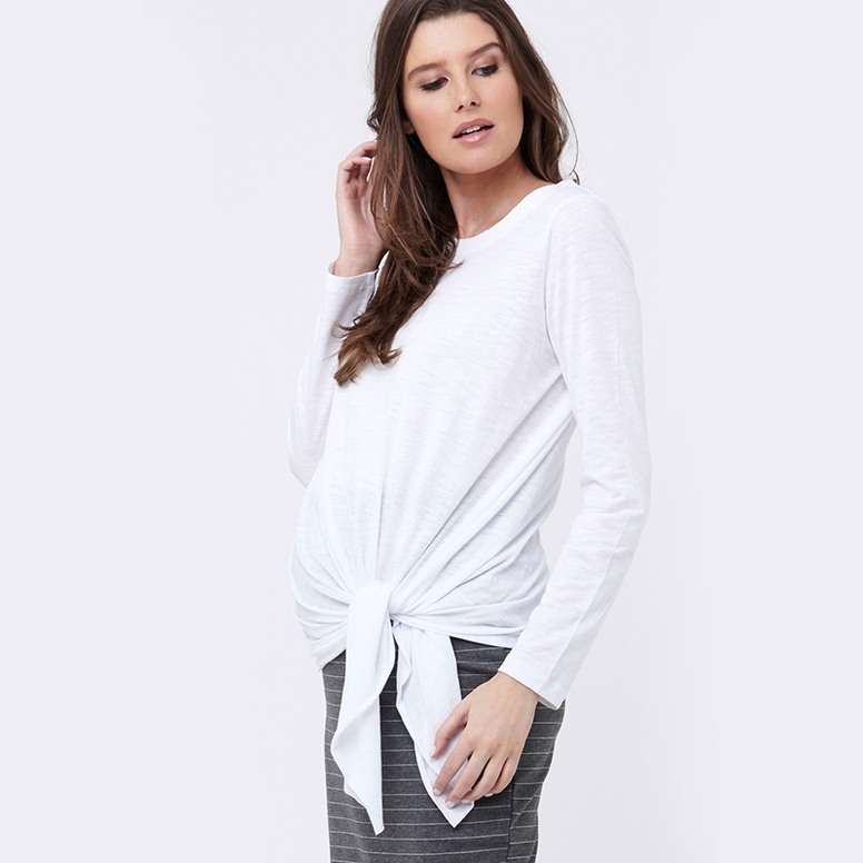 Ripe Side Tie Knot Top - White