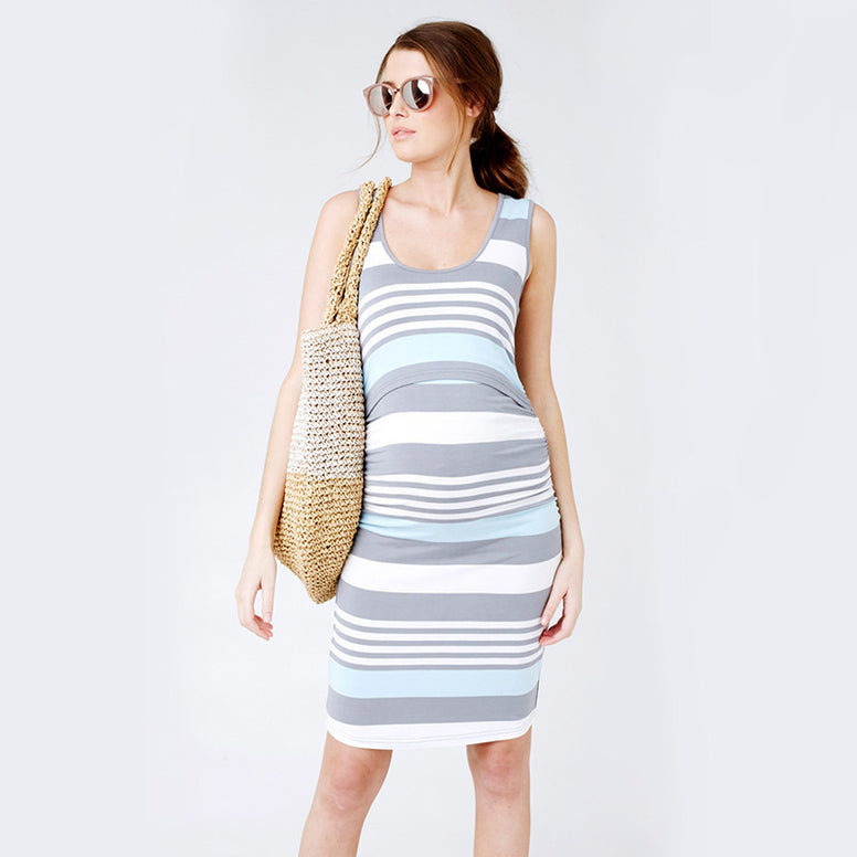 Ripe Stripe Dress - Blue Chambray