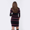 Striped Nursing Dress - Plum