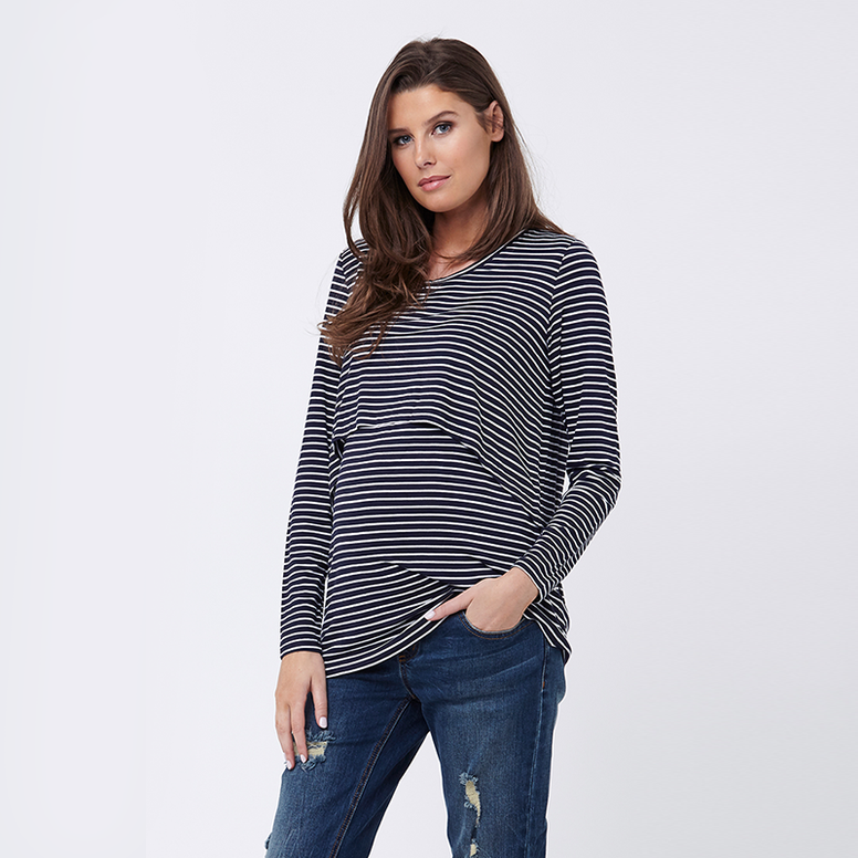 Ripe Striped Swingback Nursing Top - Navy/White