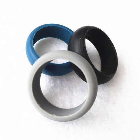 Men S Set Of 3 Rubber Silicone Wedding Bands Ocean Lace